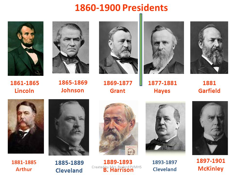 1860-1900 Presidents 1861-1865 Lincoln 1869-1877 Grant 1877-1881 Hayes 1881 Garfield 1881-1885 Arthur 1885-1889 Cleveland 1889-1893 B.
