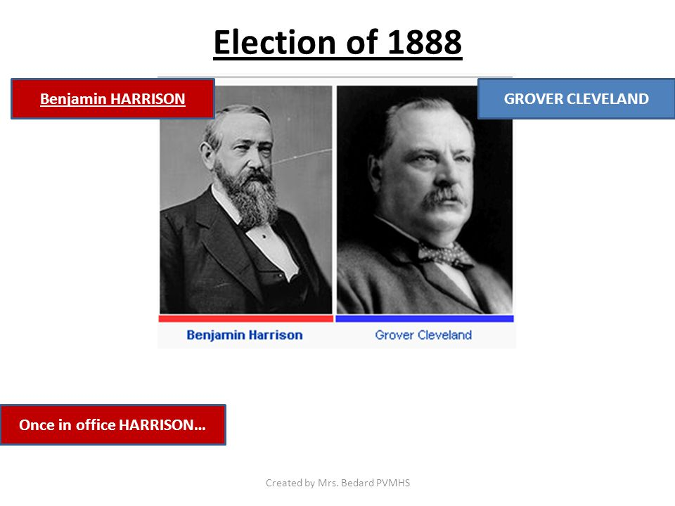 Election of 1888 Once in office HARRISON… GROVER CLEVELANDBenjamin HARRISON Created by Mrs.