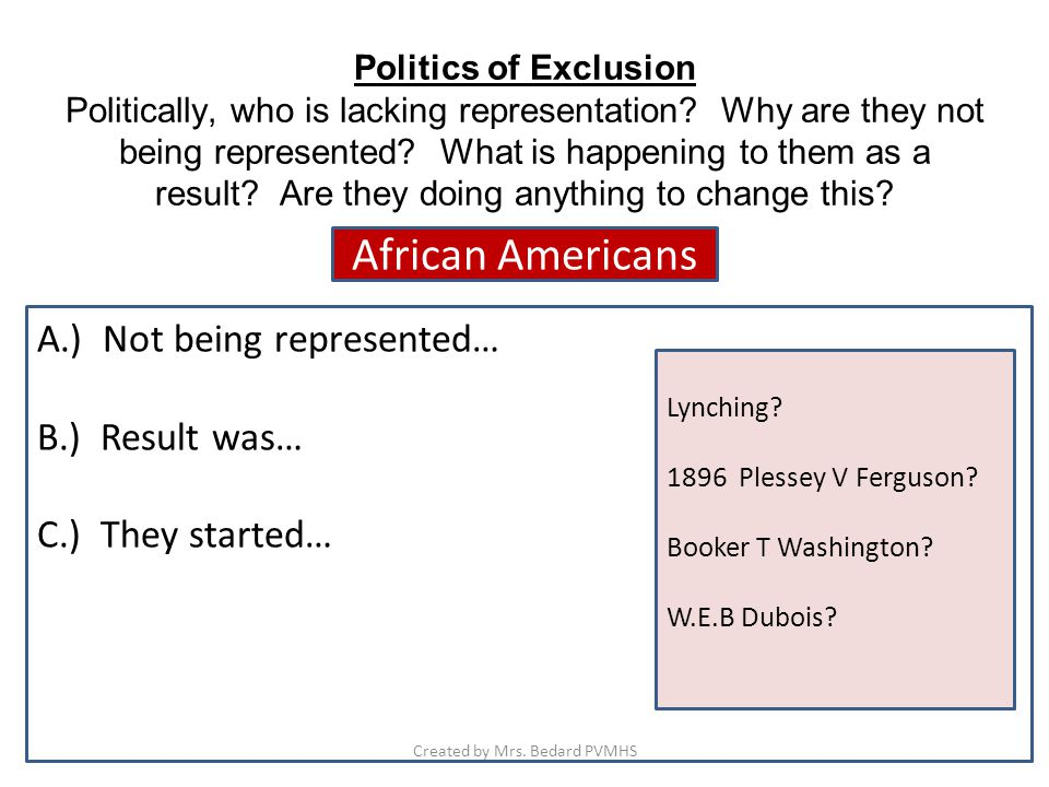 Politics of Exclusion Politically, who is lacking representation.