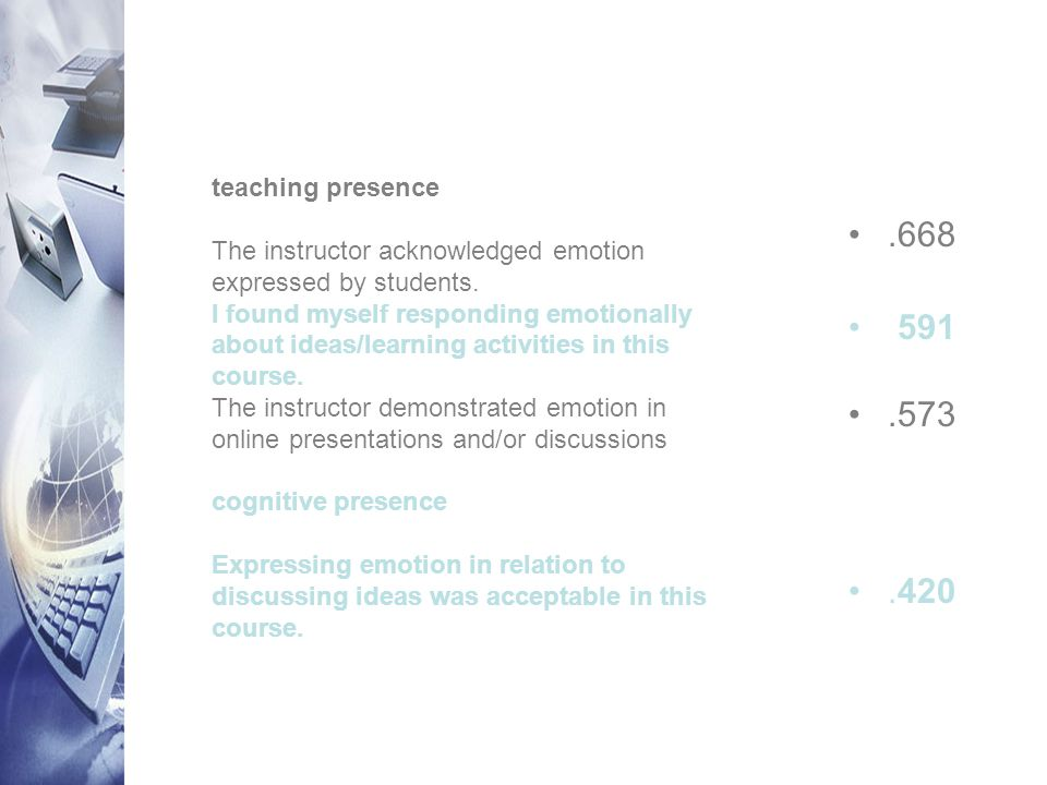 teaching presence The instructor acknowledged emotion expressed by students.