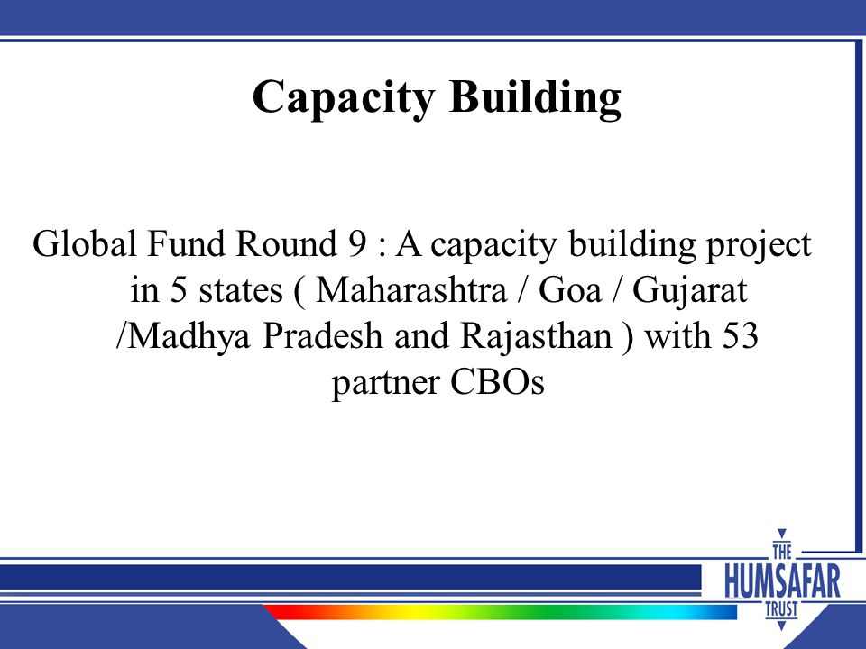 Capacity Building Global Fund Round 9 : A capacity building project in 5 states ( Maharashtra / Goa / Gujarat /Madhya Pradesh and Rajasthan ) with 53 partner CBOs