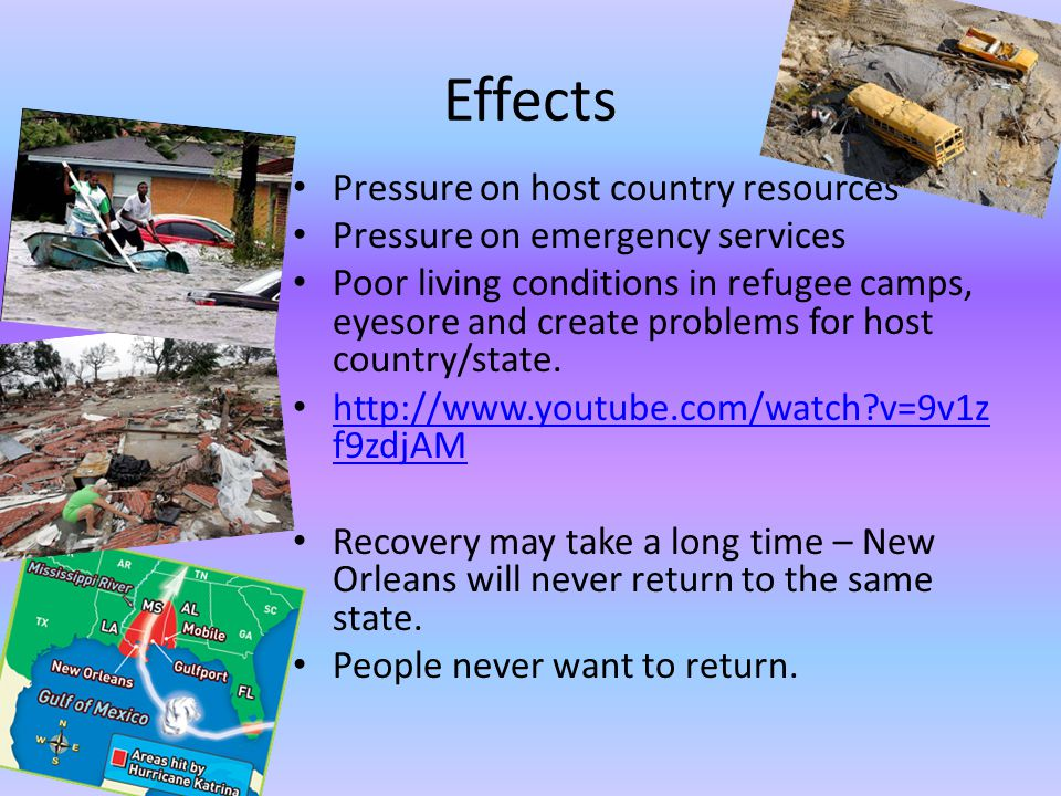 Effects Pressure on host country resources Pressure on emergency services Poor living conditions in refugee camps, eyesore and create problems for host country/state.