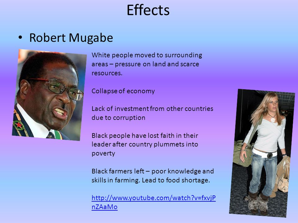 Effects Robert Mugabe White people moved to surrounding areas – pressure on land and scarce resources.
