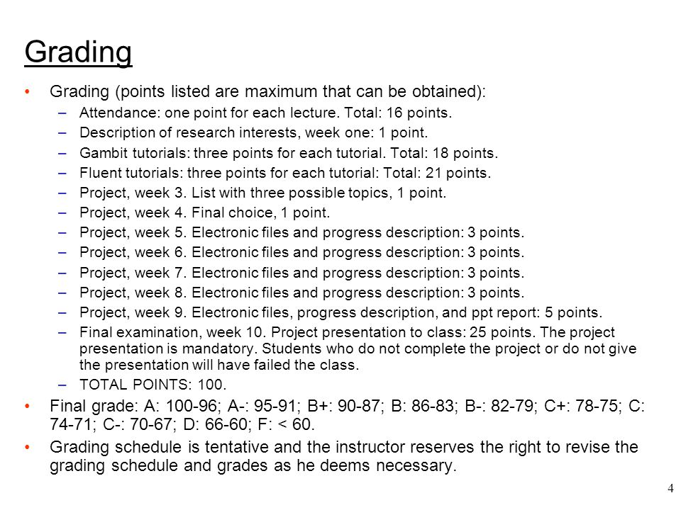 4 Grading Grading (points listed are maximum that can be obtained): –Attendance: one point for each lecture. Total: 16 points. –Description of researc
