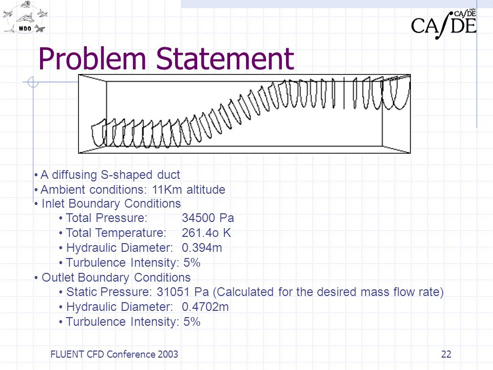 FLUENT CFD Conference 200322 Problem Statement A diffusing S-shaped duct Ambient conditions: 11Km altitude Inlet Boundary Conditions Total Pressure: 3