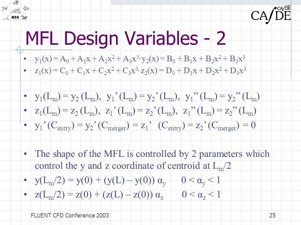 FLUENT CFD Conference 200325 MFL Design Variables - 2 y 1 (x) = A 0 + A 1 x + A 2 x 2 + A 3 x 3, y 2 (x) = B 0 + B 1 x + B 2 x 2 + B 3 x 3 z 1 (x) = C