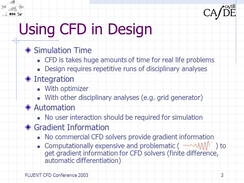 FLUENT CFD Conference 20033 Using CFD in Design Simulation Time CFD is takes huge amounts of time for real life problems Design requires repetitive ru