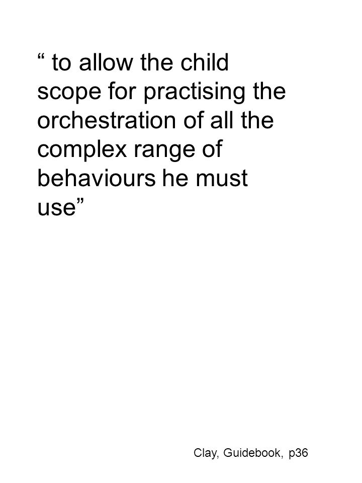 to allow the child scope for practising the orchestration of all the complex range of behaviours he must use Clay, Guidebook, p36