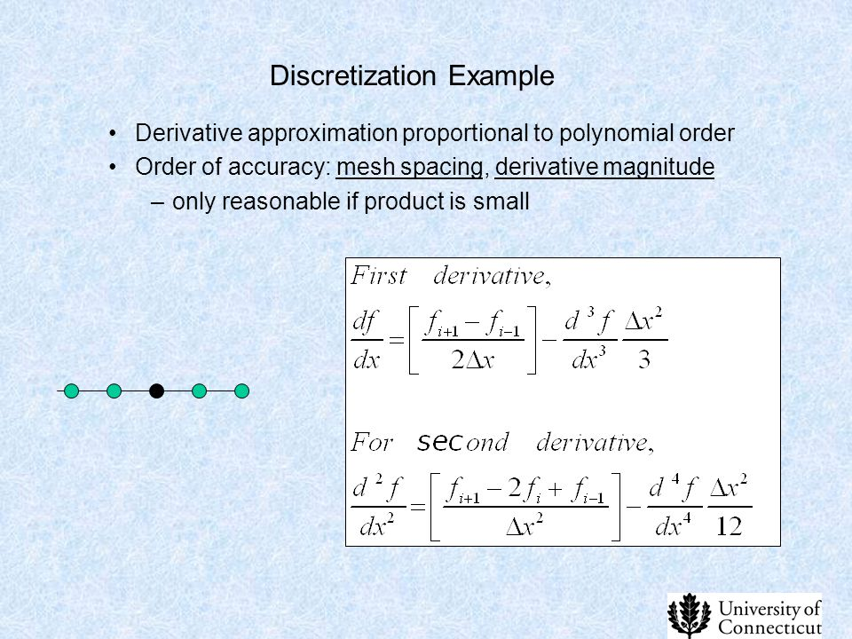 Discretization Example Derivative approximation proportional to polynomial order Order of accuracy: mesh spacing, derivative magnitude –only reasonabl