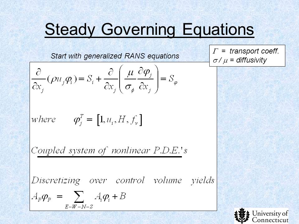 Steady Governing Equations Start with generalized RANS equations  = transport coeff.  /  = diffusivity