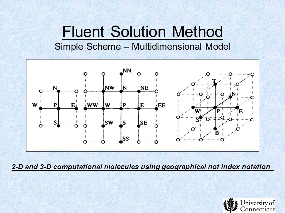 Fluent Solution Method Simple Scheme – Multidimensional Model 2-D and 3-D computational molecules using geographical not index notation