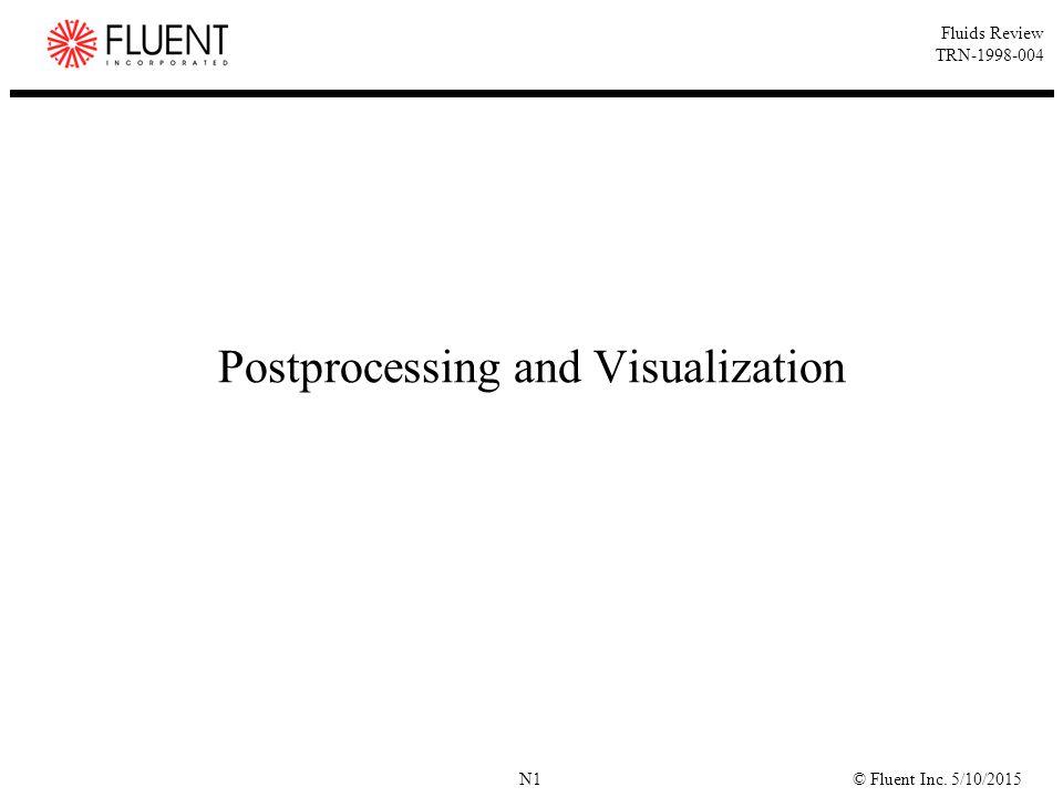 © Fluent Inc. 5/10/2015N1 Fluids Review TRN-1998-004 Postprocessing and Visualization