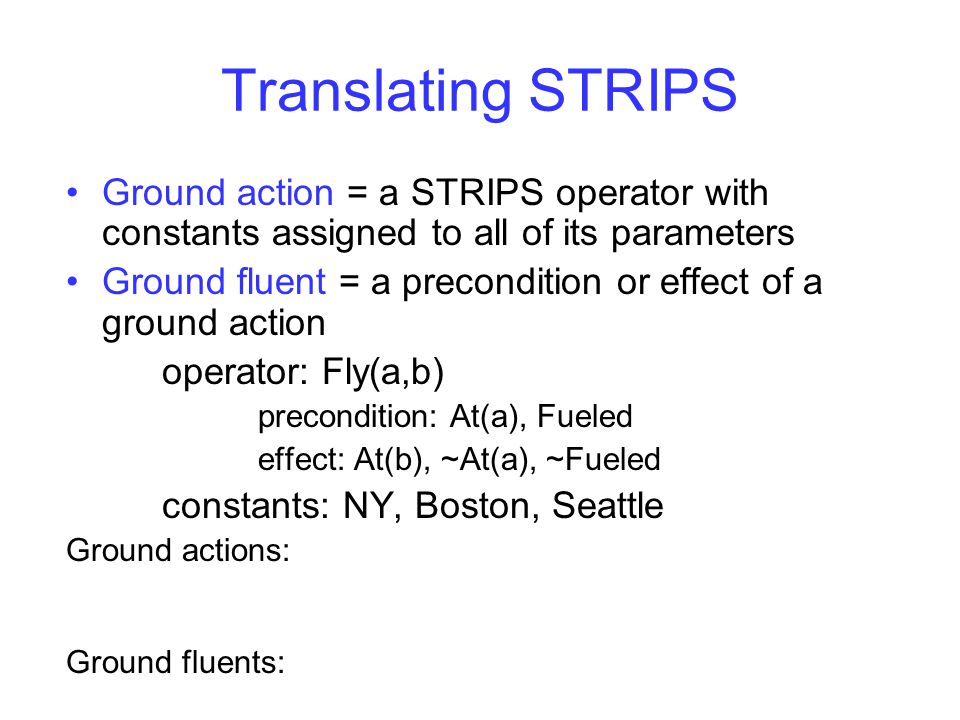 Translating STRIPS Ground action = a STRIPS operator with constants assigned to all of its parameters Ground fluent = a precondition or effect of a gr