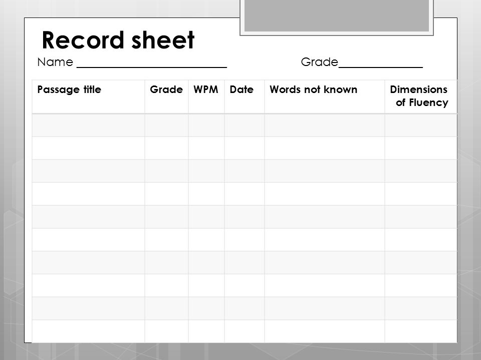 Record sheet Name _________________________ Grade______________ Passage titleGradeWPMDateWords not knownDimensions of Fluency
