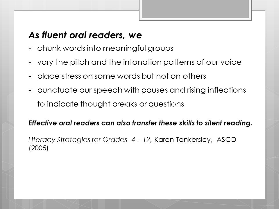 Your Assignment Provide reading fluency development with one of your classes.