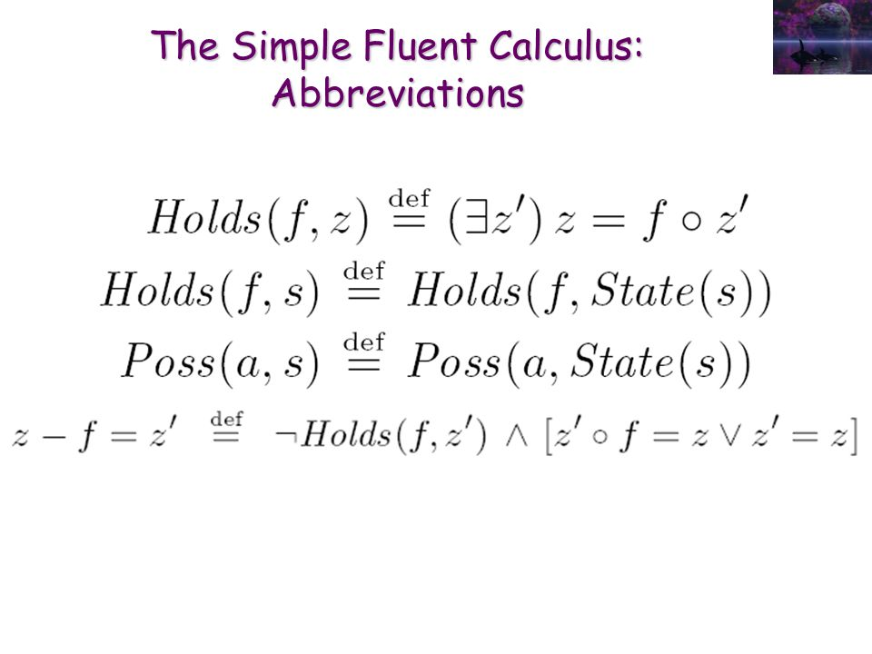 The Simple Fluent Calculus: Abbreviations