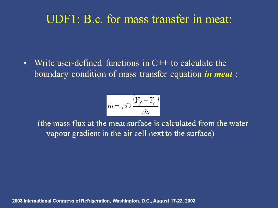 2003 International Congress of Refrigeration, Washington, D.C., August 17-22, 2003 UDF1: B.c.