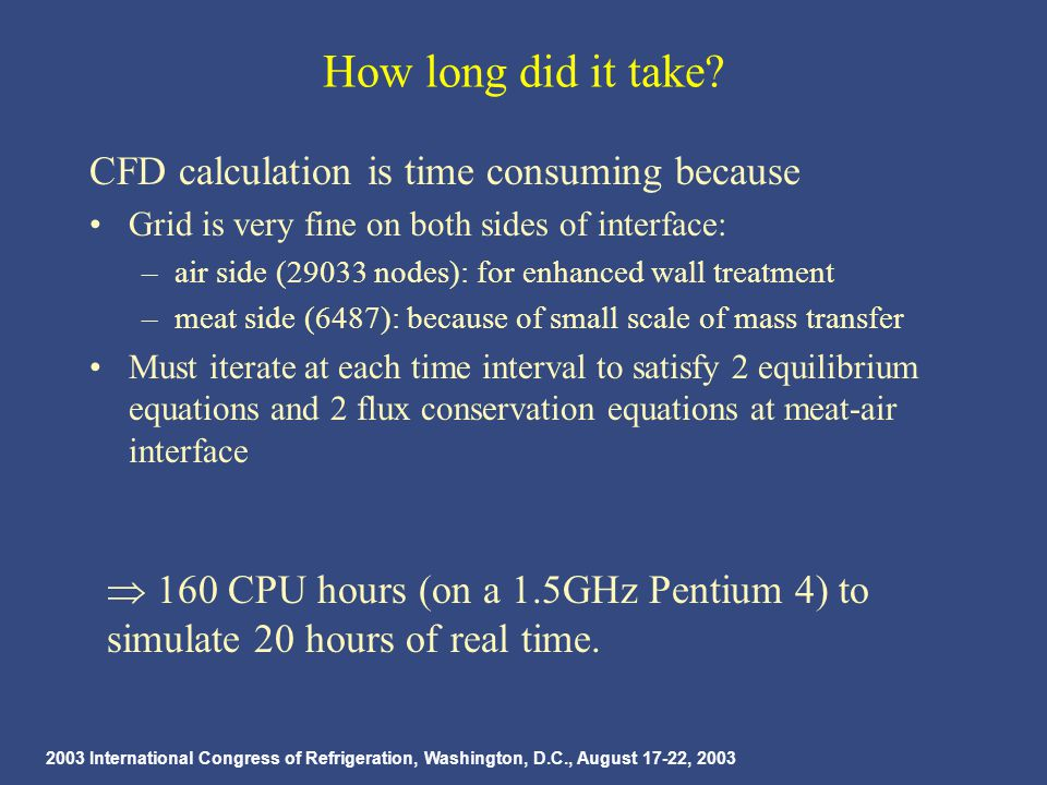 2003 International Congress of Refrigeration, Washington, D.C., August 17-22, 2003 How long did it take.