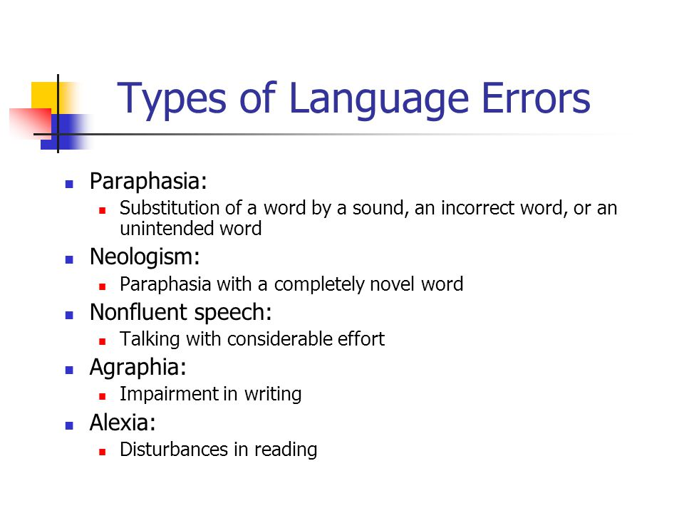 Types of Language Errors Paraphasia: Substitution of a word by a sound, an incorrect word, or an unintended word Neologism: Paraphasia with a completely novel word Nonfluent speech: Talking with considerable effort Agraphia: Impairment in writing Alexia: Disturbances in reading
