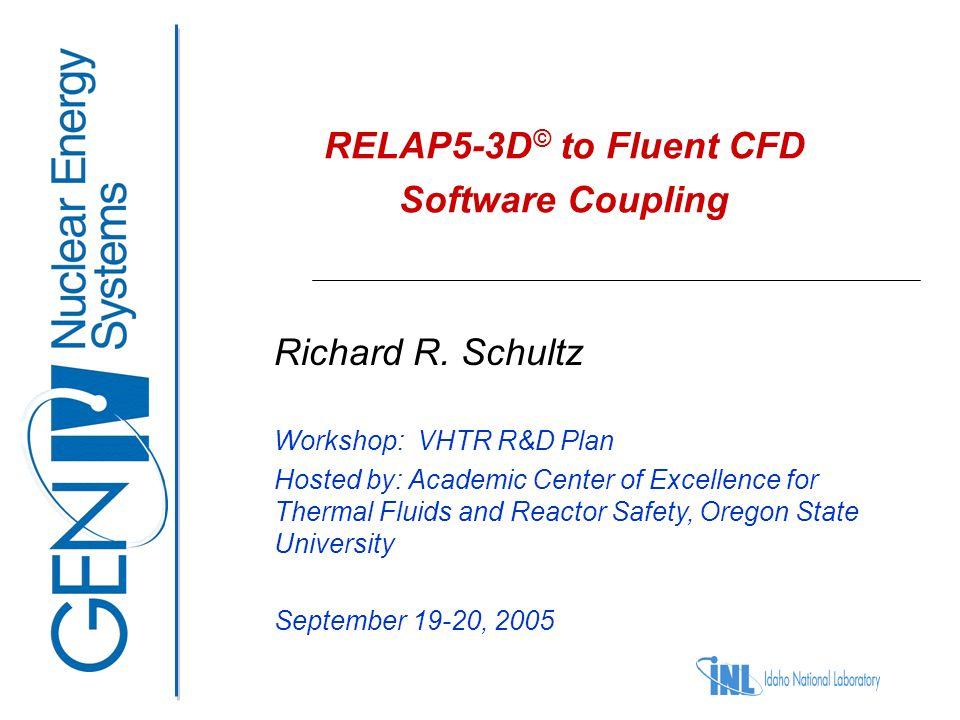 VHTR R&D Plan Workshop Corvallis, OR September 19-20, 2005 12 RELAP5-3D © coupled to enable detailed analysis of lower plenum flow patterns Core Upper Plenum Lower Plenum Balance Of Plant Fluent model RELAP5 model RELAP5 model