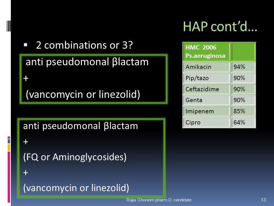 HAP cont'd…  2 combinations or 3.
