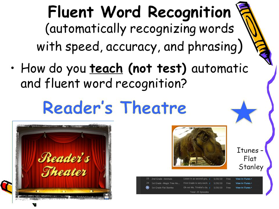 Fluent Word Recognition (automatically recognizing words with speed, accuracy, and phrasing ) How do you teach (not test) automatic and fluent word re