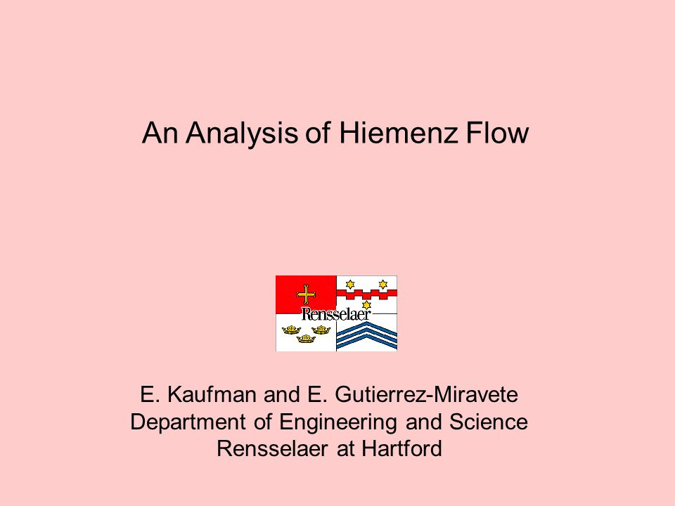 An Analysis of Hiemenz Flow E. Kaufman and E.