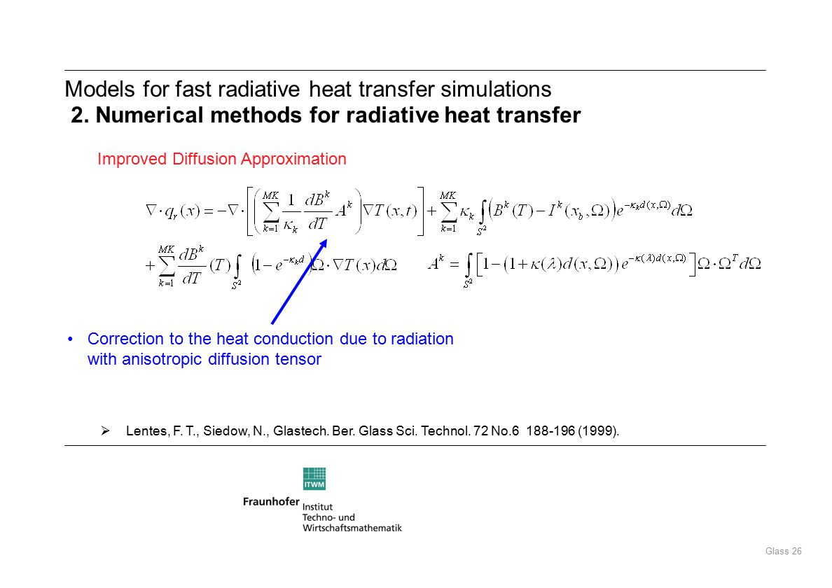 Glass 26 Models for fast radiative heat transfer simulations 2.