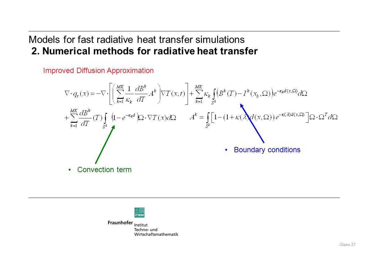 Glass 27 Models for fast radiative heat transfer simulations 2.
