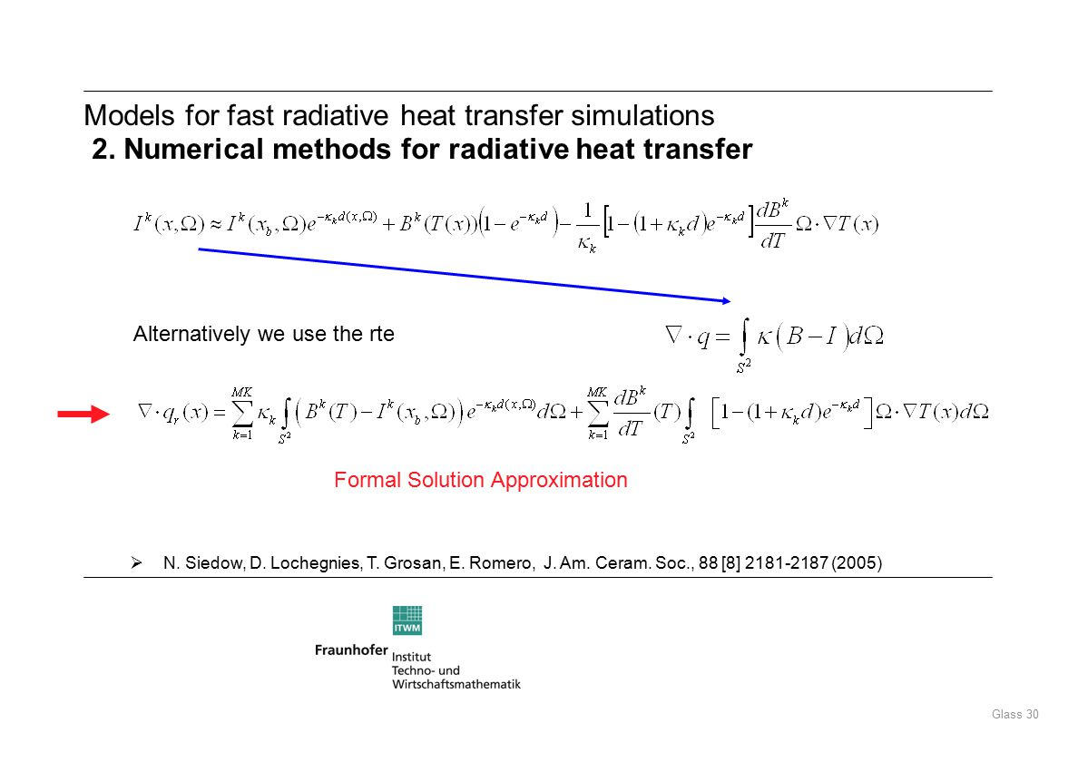 Glass 30 Models for fast radiative heat transfer simulations 2.