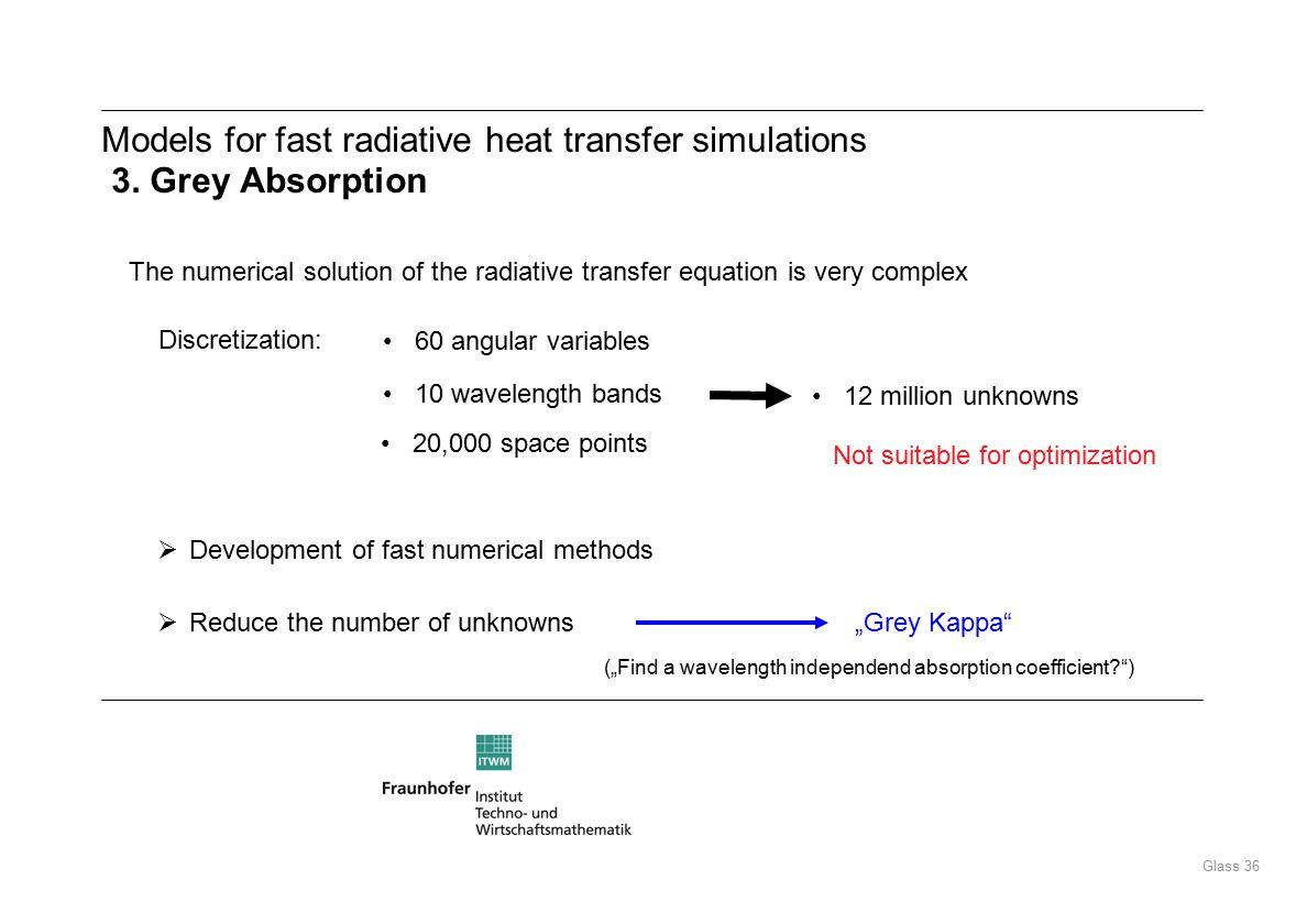 Glass 36 Models for fast radiative heat transfer simulations 3.