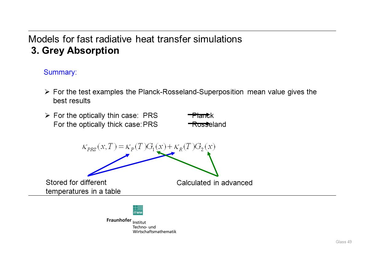 Glass 49 Summary:  For the test examples the Planck-Rosseland-Superposition mean value gives the best results  For the optically thin case: PRSPlanck For the optically thick case:PRSRosseland Stored for different temperatures in a table Calculated in advanced Models for fast radiative heat transfer simulations 3.