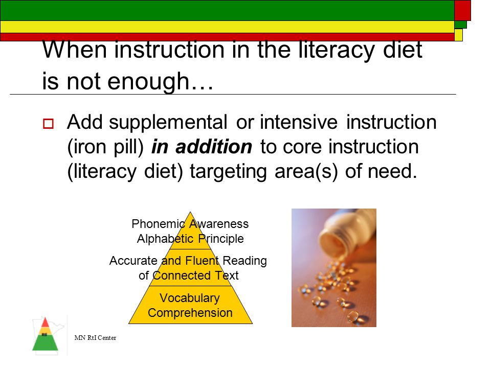 MN RtI Center When instruction in the literacy diet is not enough… …  Add supplemental or intensive instruction (iron pill) in addition to core instruction (literacy diet) targeting area(s) of need.