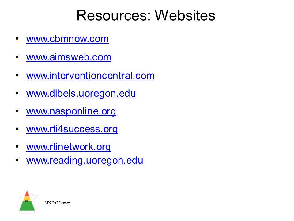 MN RtI Center Resources: Websites www.cbmnow.com www.aimsweb.com www.interventioncentral.com www.dibels.uoregon.edu www.nasponline.org www.rti4success.org www.rtinetwork.org www.reading.uoregon.edu