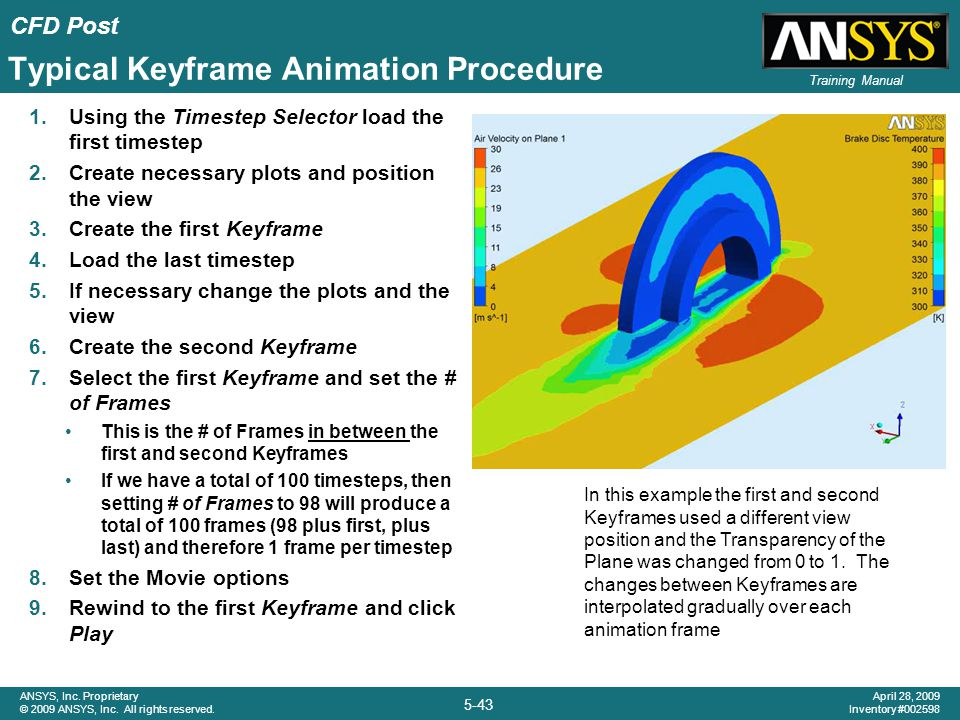 CFD Post 5-43 ANSYS, Inc. Proprietary © 2009 ANSYS, Inc. All rights reserved. April 28, 2009 Inventory #002598 Training Manual Typical Keyframe Animat