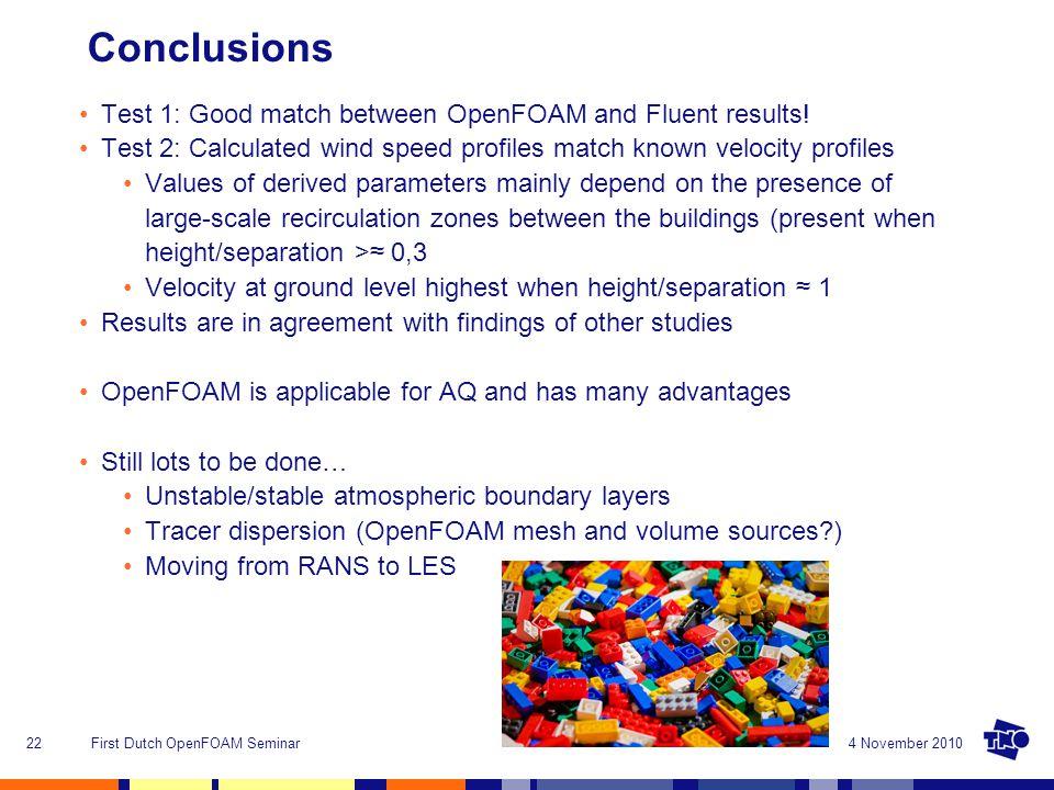 4 November 2010First Dutch OpenFOAM Seminar22 Conclusions Test 1: Good match between OpenFOAM and Fluent results.