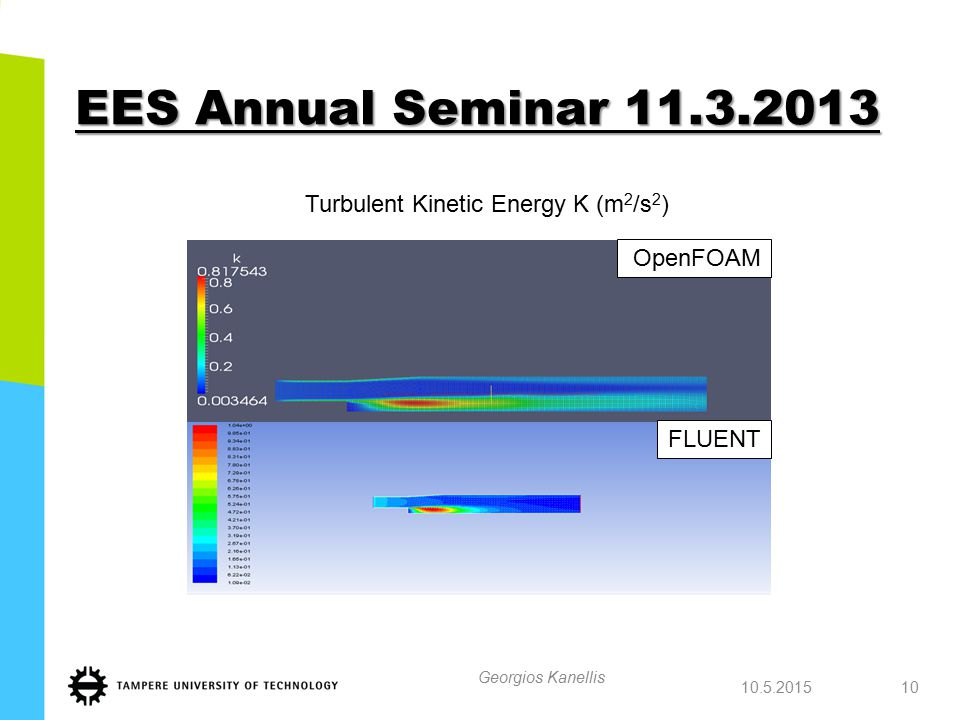 EES Annual Seminar 11.3.2013 10.5.2015 Georgios Kanellis 10 OpenFOAM Turbulent Kinetic Energy K (m 2 /s 2 ) FLUENT