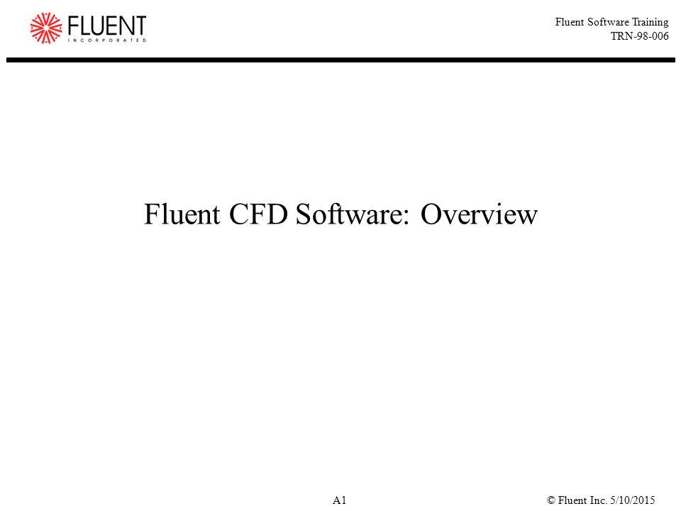 © Fluent Inc. 5/10/2015A1 Fluent Software Training TRN-98-006 Fluent CFD Software: Overview