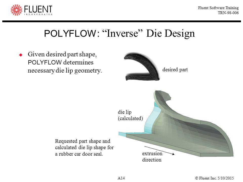 """© Fluent Inc. 5/10/2015A14 Fluent Software Training TRN-98-006 POLYFLOW : """"Inverse"""" Die Design  Given desired part shape, POLYFLOW determines necessa"""
