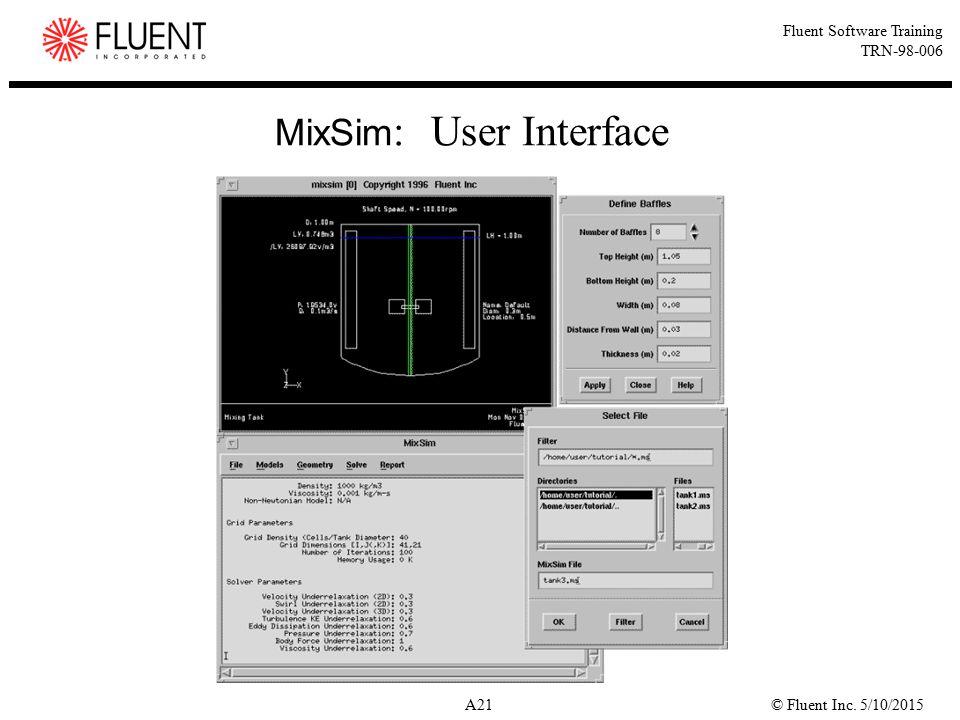 © Fluent Inc. 5/10/2015A21 Fluent Software Training TRN-98-006 MixSim : User Interface