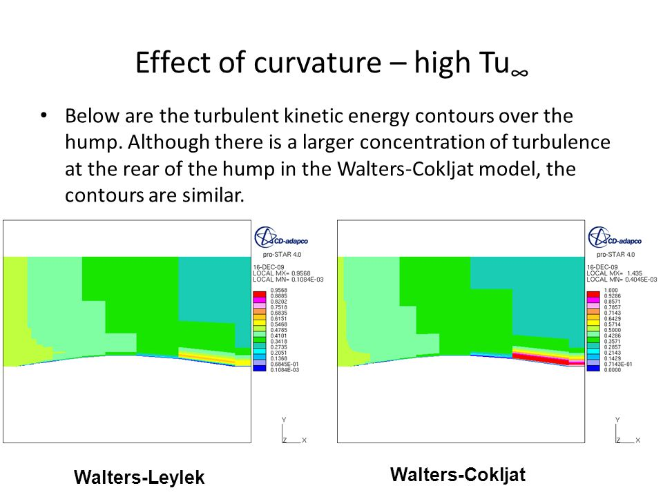 Effect of curvature – high Tu ∞ Walters-Leylek Walters-Cokljat Below are the turbulent kinetic energy contours over the hump.