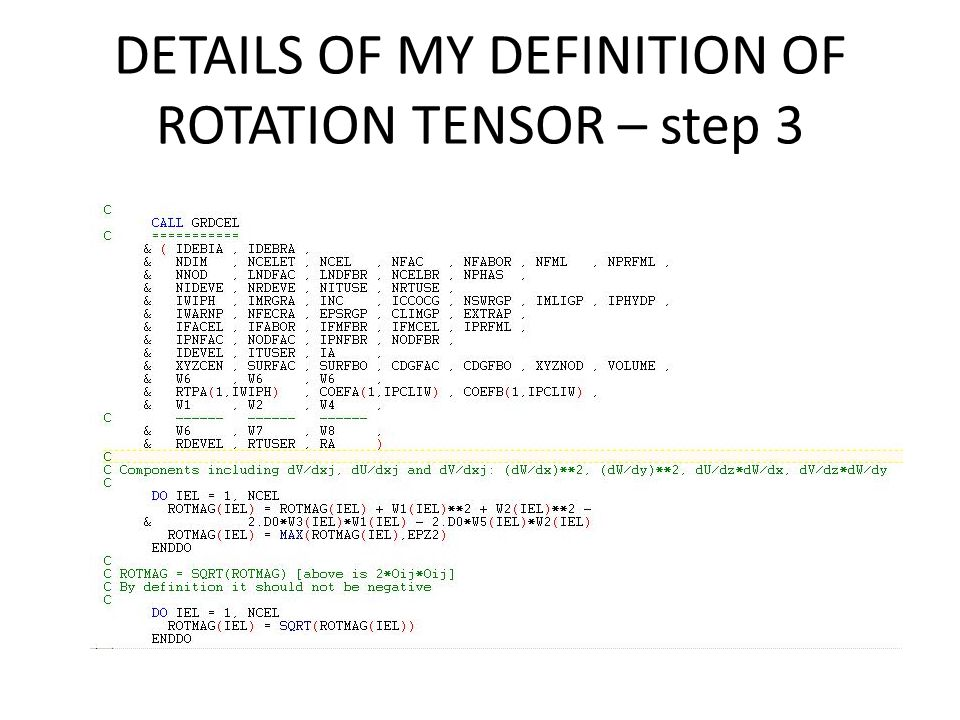 DETAILS OF MY DEFINITION OF ROTATION TENSOR – step 3
