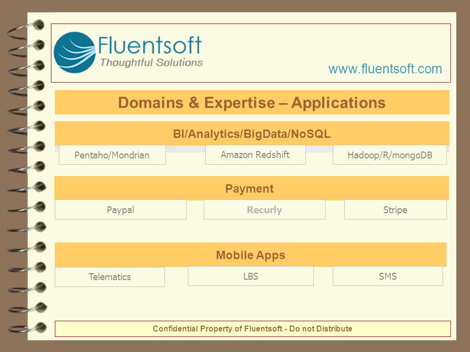 BI/Analytics/BigData/NoSQL Pentaho/MondrianHadoop/R/mongoDBAmazon Redshift Mobile Apps LBSSMS Telematics Confidential Property of Fluentsoft - Do not Distribute Payment PaypalRecurlyStripe www.fluentsoft.com Domains & Expertise – Applications