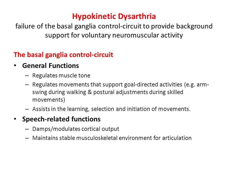 Hypokinetic Dysarthria – Etiologies (Duffy 2005) e.g. Parkinson's Disease