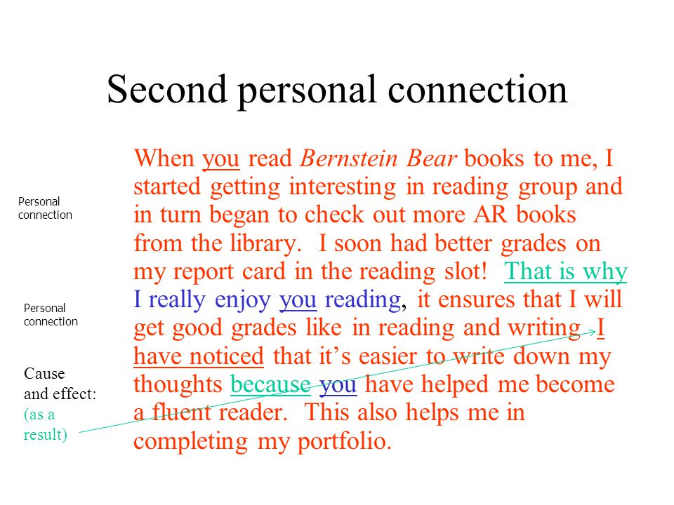 Second personal connection When you read Bernstein Bear books to me, I started getting interesting in reading group and in turn began to check out mor