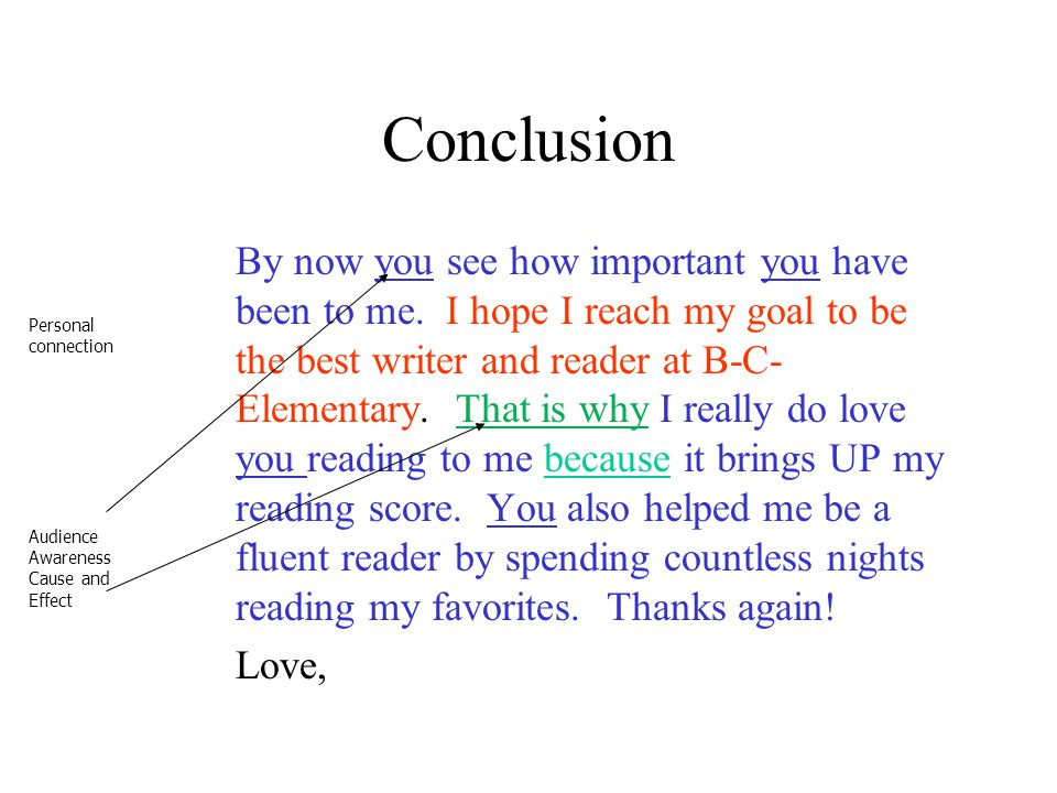 Conclusion By now you see how important you have been to me. I hope I reach my goal to be the best writer and reader at B-C- Elementary. That is why I