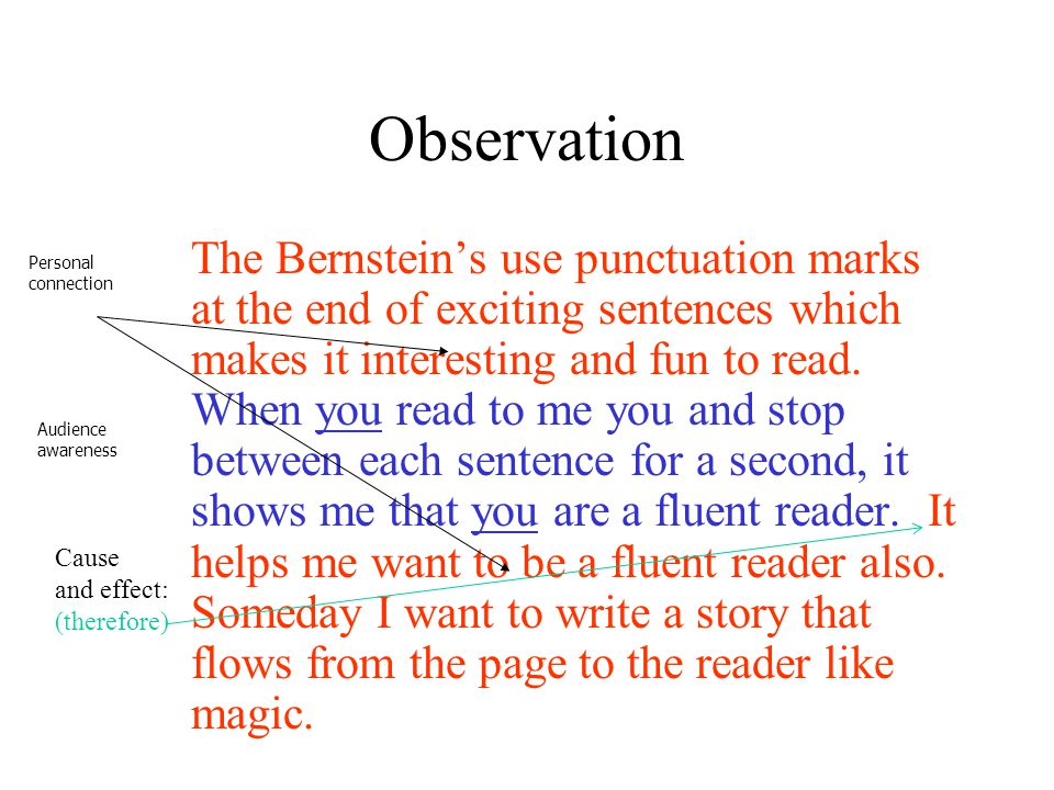 Observation The Bernstein's use punctuation marks at the end of exciting sentences which makes it interesting and fun to read. When you read to me you