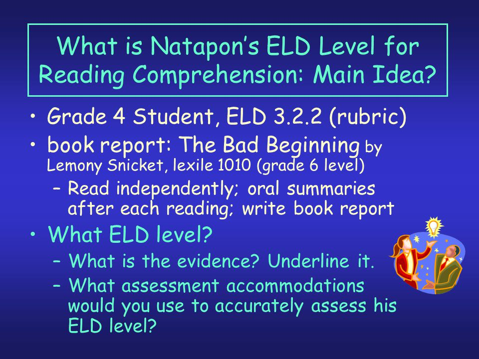 What is Natapon's ELD Level for Reading Comprehension: Main Idea.