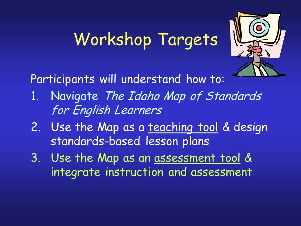 Workshop Targets Participants will understand how to: 1.Navigate The Idaho Map of Standards for English Learners 2.Use the Map as a teaching tool & design standards-based lesson plans 3.Use the Map as an assessment tool & integrate instruction and assessment