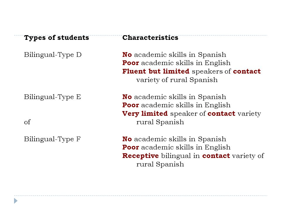 At the university level we typically see: Newly arrived-Type A Well-schooled in Spanish-speaking country Speakers of prestige variety of Spanish Bilingual-Type AAccess to bilingual instruction in U.S.